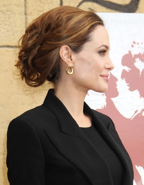 Angelina Jolie formal messy updo hairstyle