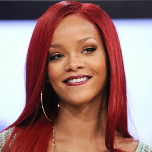 Rihanna burgundy hair color