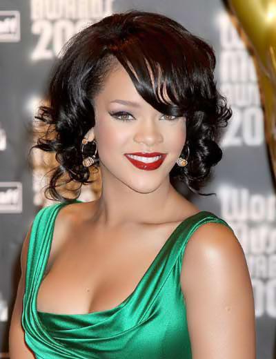 Rihanna retro short bob
