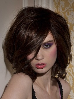 brown hair color retro medium hairstyle