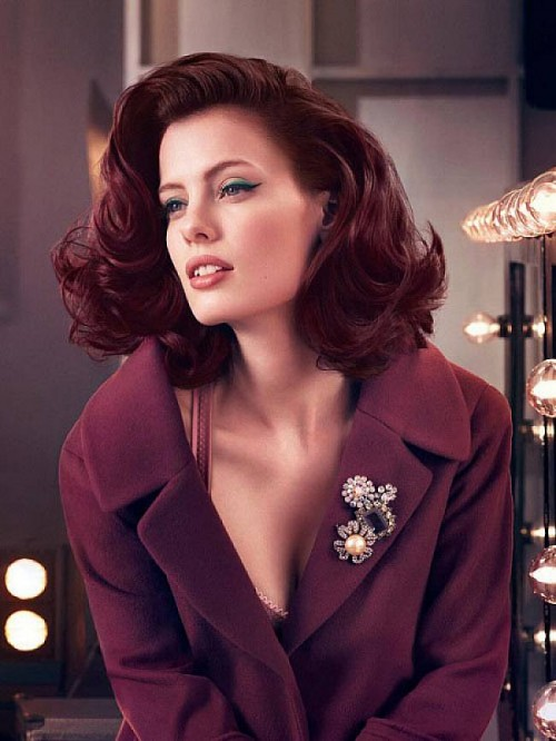 burgundy hair color and retro hairstyle