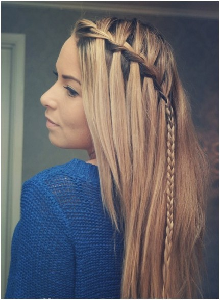 diagonal braid for long straight hairstyles