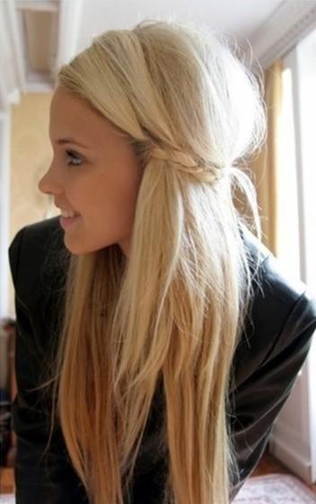 horizontal braid for long straight hairstyles