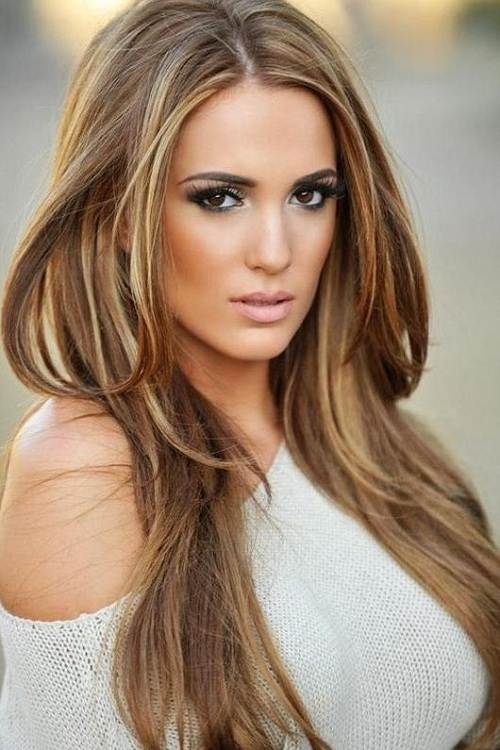 long light brown hair with blonde highlights