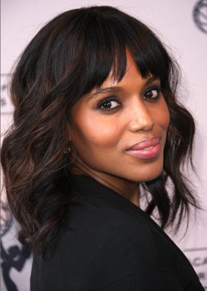 medium length hairstyles with bangs