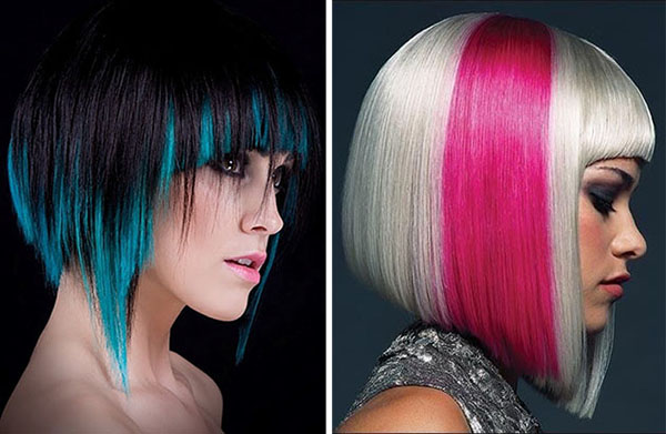 multi colored bob hairstyles