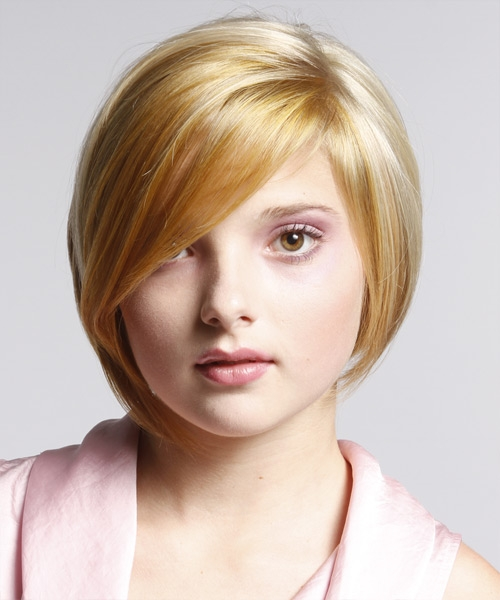 asymmetrical bob haircut for round faces