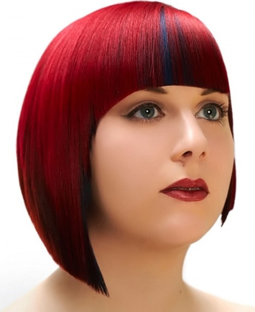 blunt cut bob for round faces