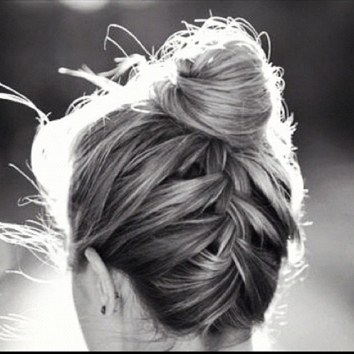 braids into bun hairstyle