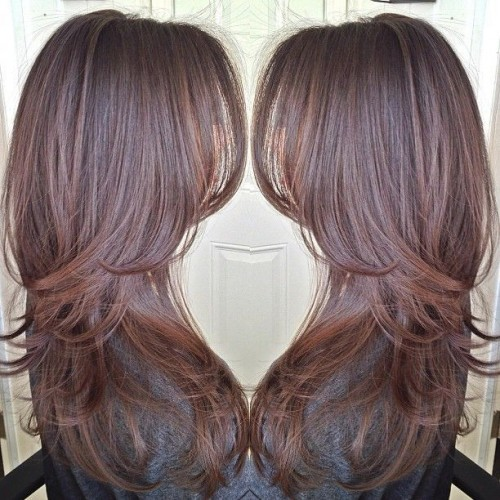 Classy long layered hairstyle cascading along the shoulders can be one ...