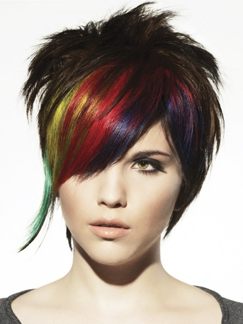 multicolor short punk hairstyle