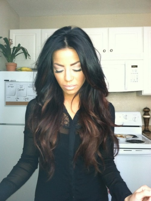 black-to-chocolate ombre highlights