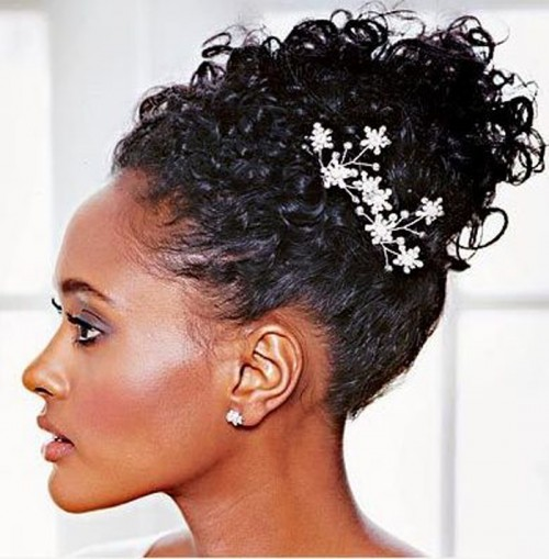 Wedding Hairstyle For Natural Curly Hair: Striking Black Wedding Hairstyles 2014