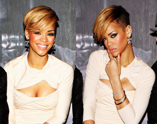 rihanna blonde short hairstyles