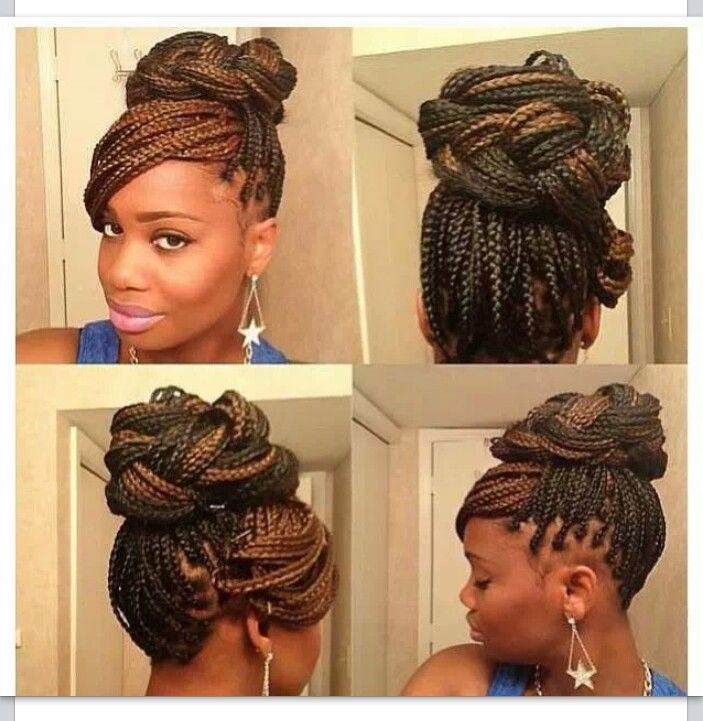 simple box braids updo hairstyles 2014