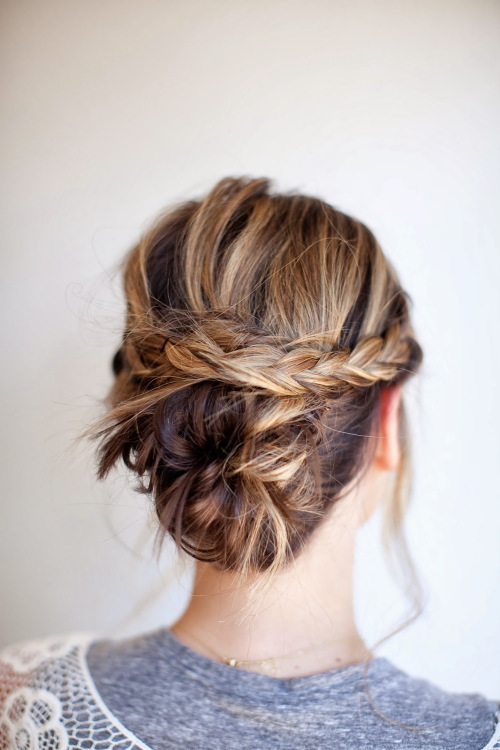 braid-and-bun updos for medium hair 2014