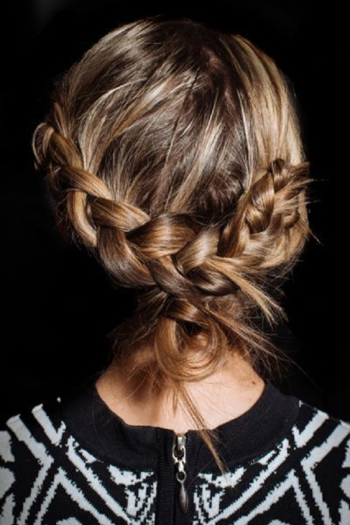 loosely tied braided updos for medium hair