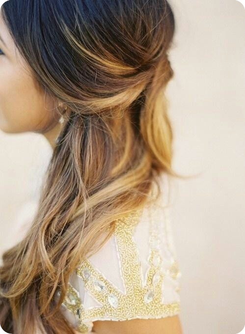 ombre half updo back to school hairstyles 2014