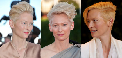 Tilda Swinton hairstyles from Berlin Fashion Week