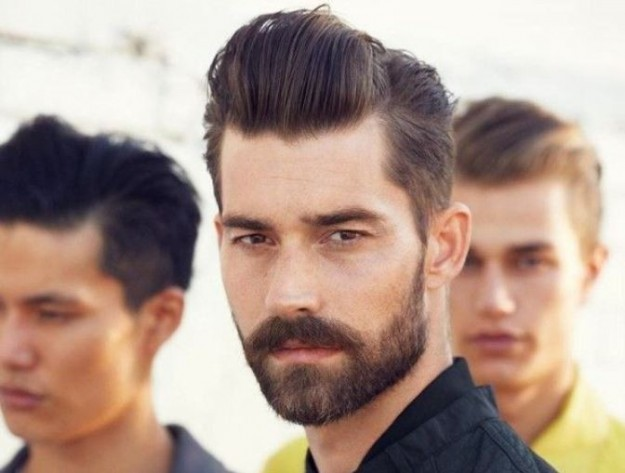 2015 mens hairstyles - beard and sleeked back hairstyle