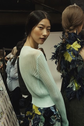 LFW Erdem Collection Center Parted Hairstyles 2015