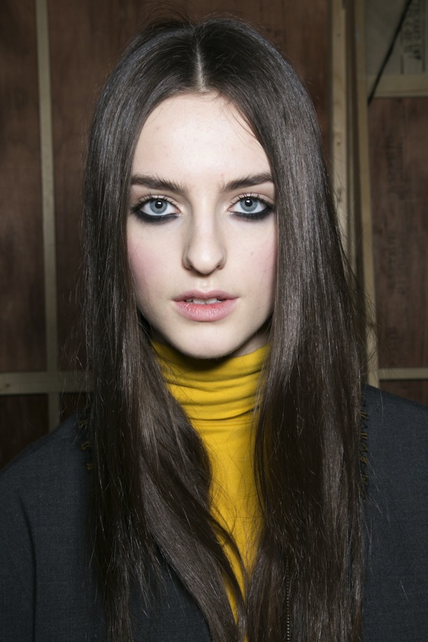 London Fashion Week Brunette Center Parted Hairstyles 2015