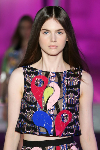 London Fashion Week Peter Pilotto Center Parted Hairstyles 2015