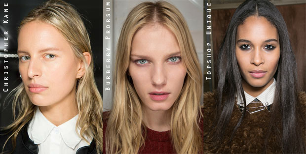 London Fashion Week Center Parted Hairstyles 2015
