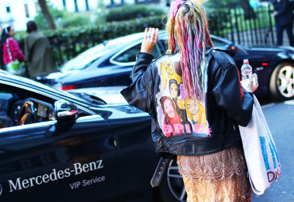 London Fashion Week hairstyles 2015 - street style rainbow hair