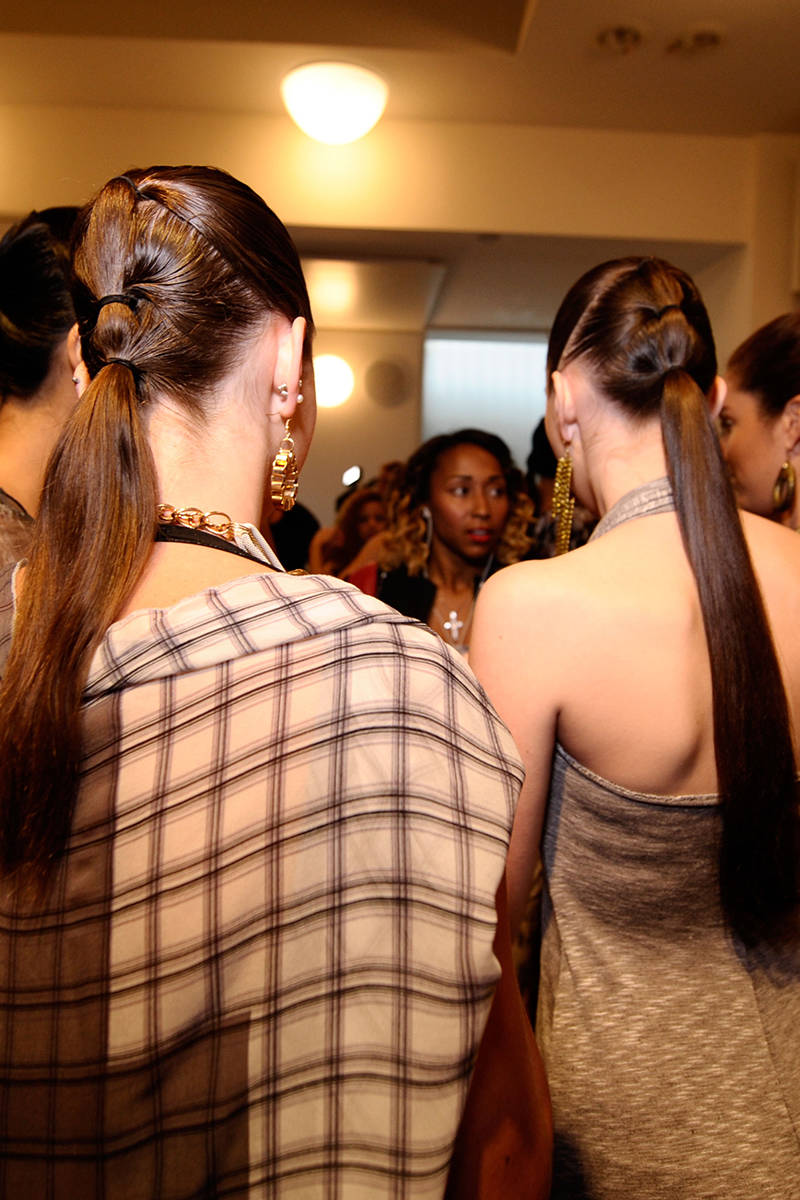 NYFW hairstyles trends 2015 - wet effect ponytails