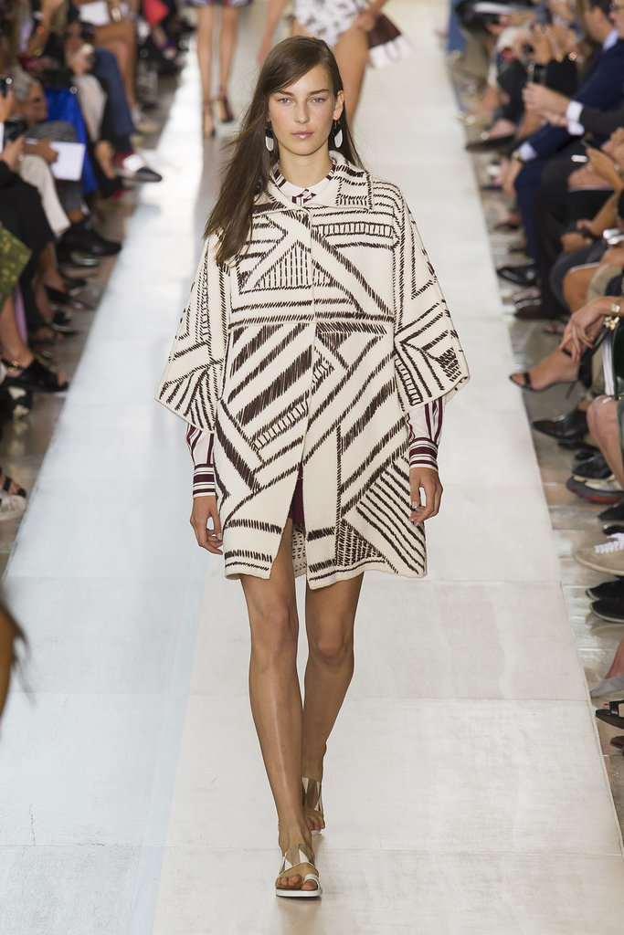 Tory Burch NYFW Spring 2015 hairstyles - long brown side swept hair