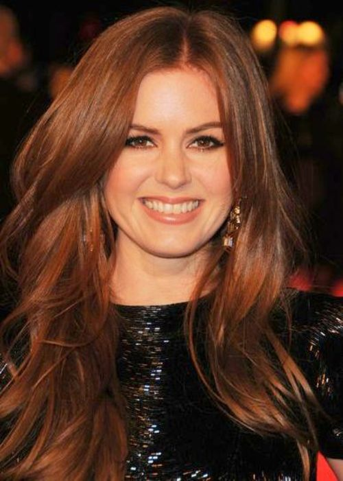Isla Fisher dark auburn hair color for 2014-2015