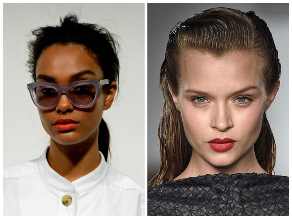 J. Crew and Zac Posen slicked back hairstyles 2015