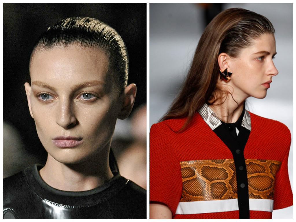 Alexander Wang and Proenza Schouler slicked back hairstyles 2015
