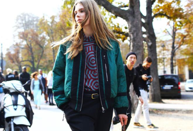 Paris Fashion Week Hairstyles 2015 - Street Style Long Straight Hair