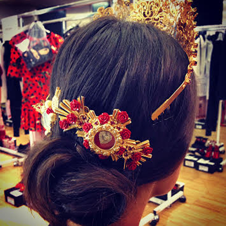 Low bun hairstyles 2015 and jewel hair accessories SS15