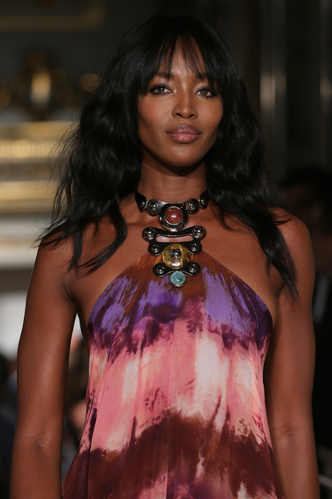 Naomi Campbell feathery bangs hairstyles 2015