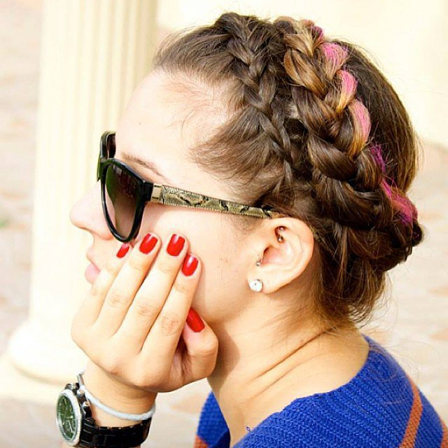 Colorful crown braids hairstyles 2015