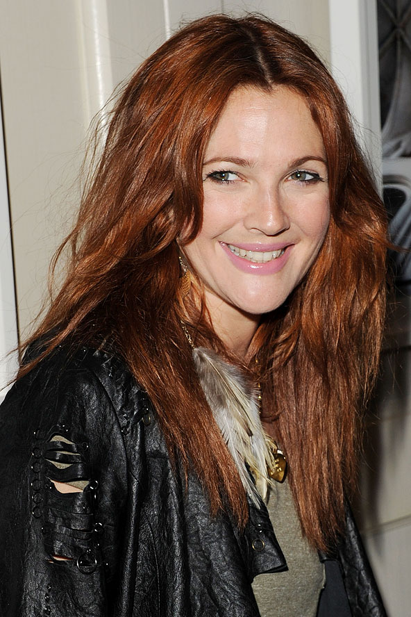 Drew Barrymore red hair colors 2015
