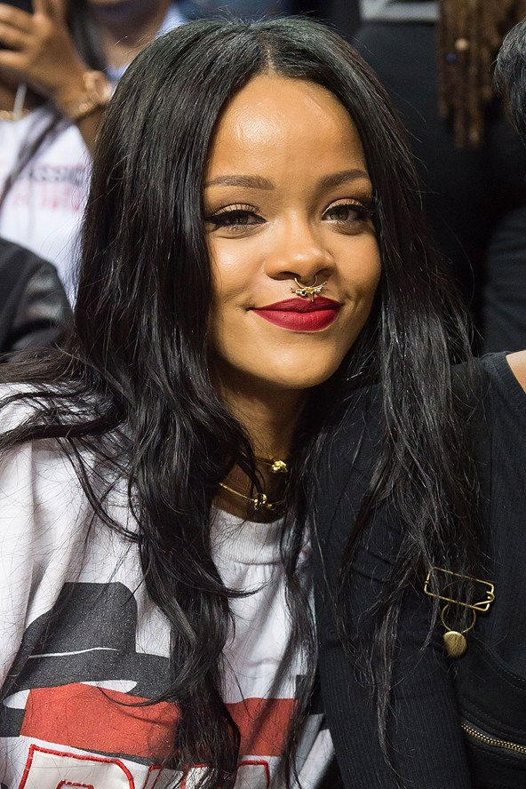 Rihanna Matte Lipstick And Ponytail Hairstyles Ss15