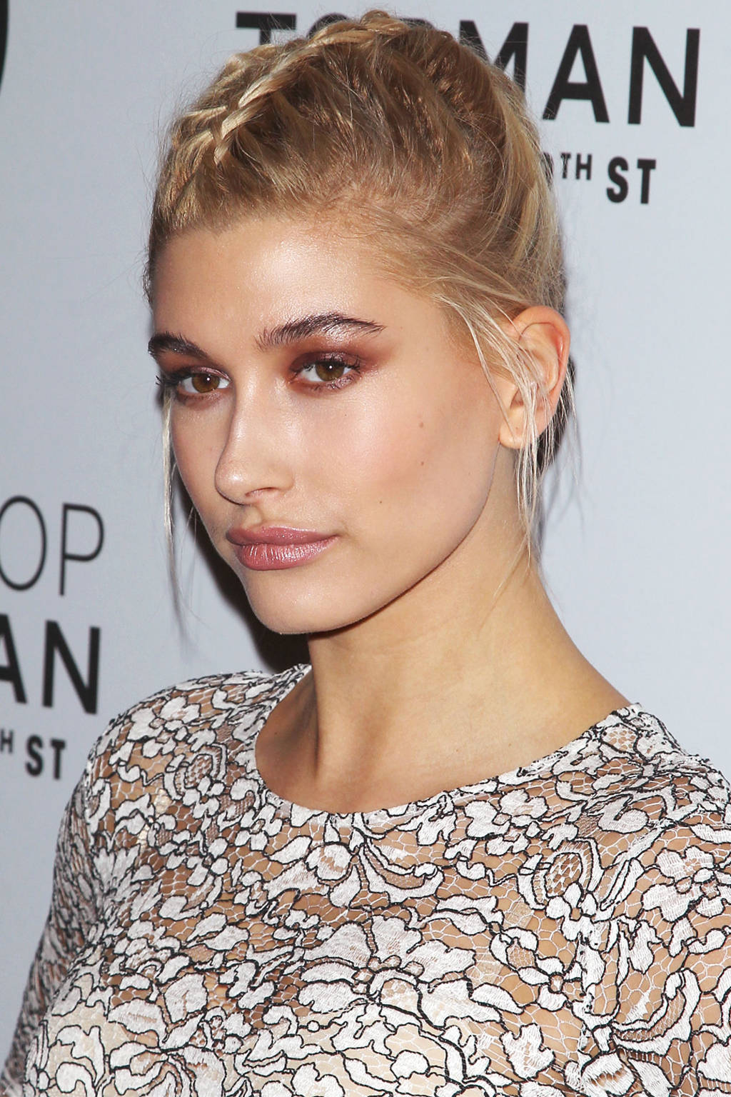 Hailey Baldwin center braided hairstyles 2015