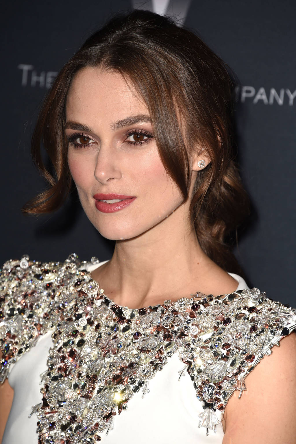 Keira Knightley center parted hairstyles 2015