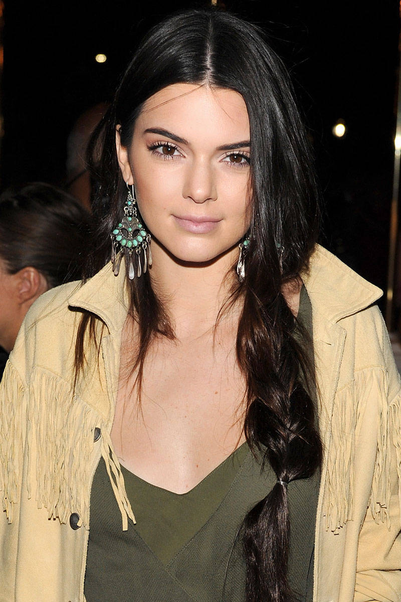 Kendall Jenner center parted hairstyles 2015