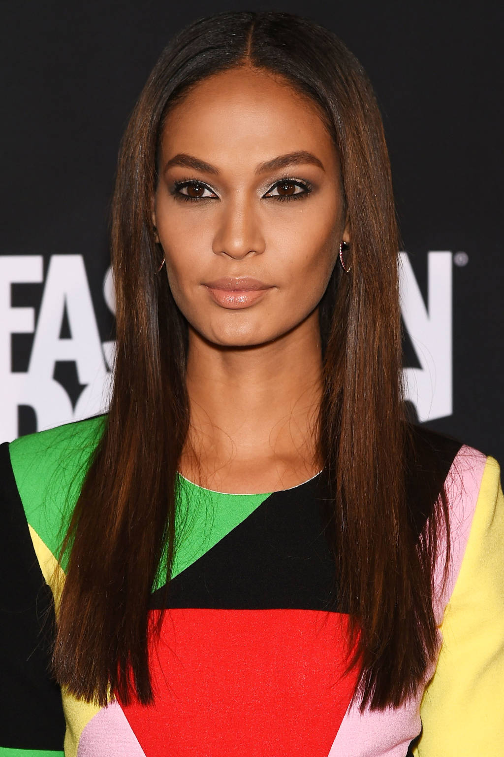 Joan Smalls center parted hairstyles 2015