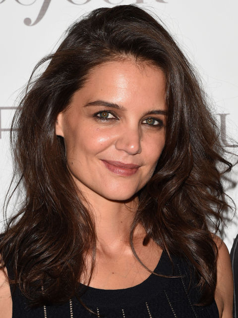 Katie Holmes deep chocolate hair color 2015