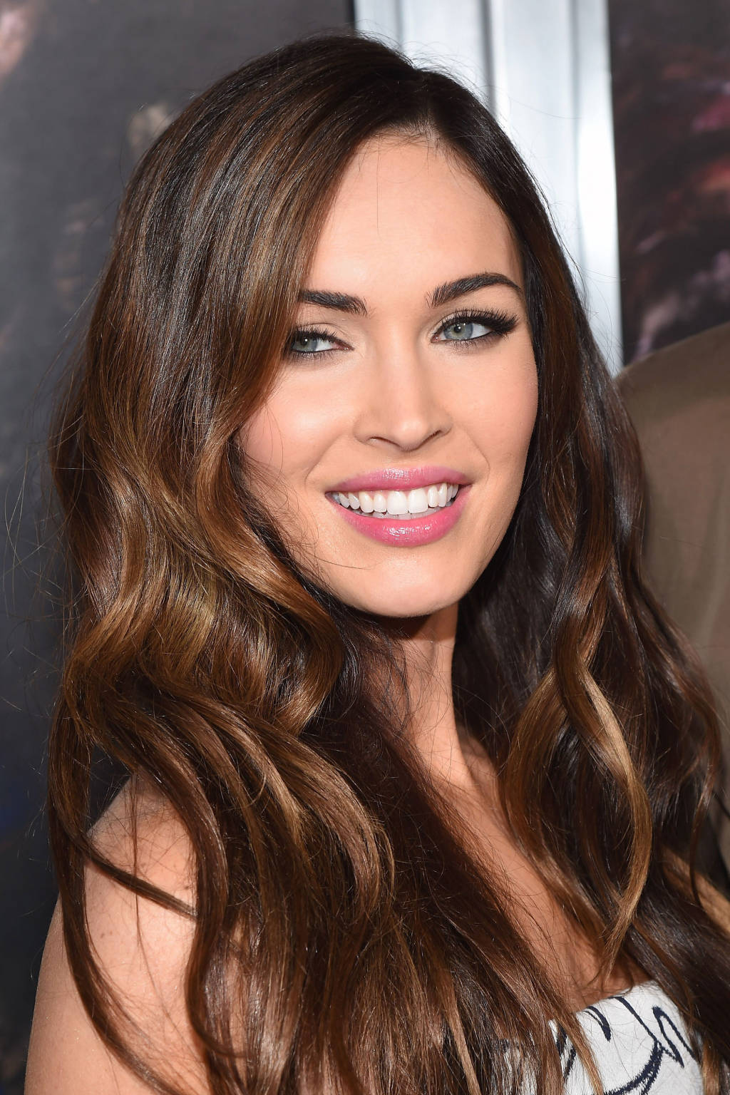 Megan Fox dark hair color with highlights