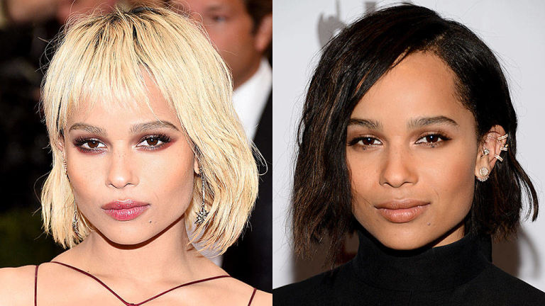 Zoe Kravitz blonde and brunette hair colors 2015