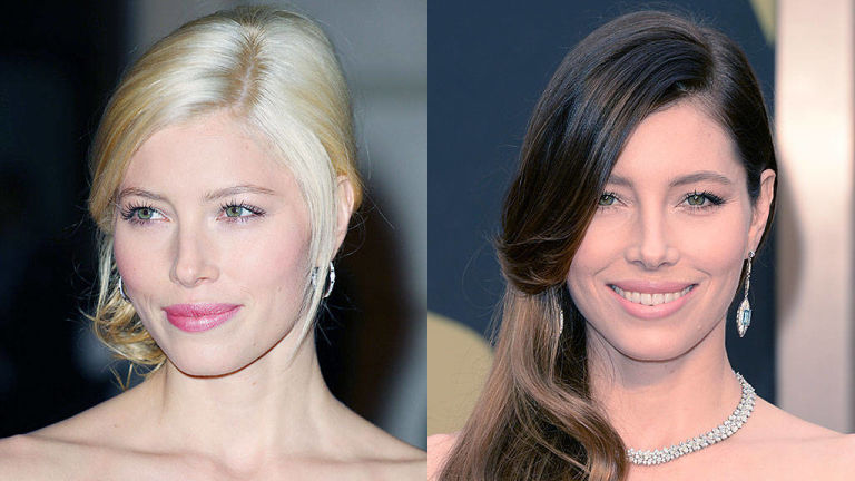 Jessica Biel blonde and brunette hair colors 2015