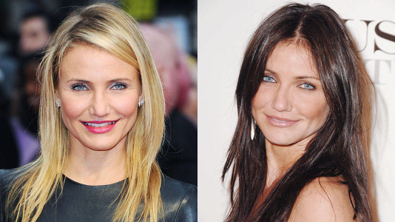 Cameron Diaz blonde and brunette hairstyles