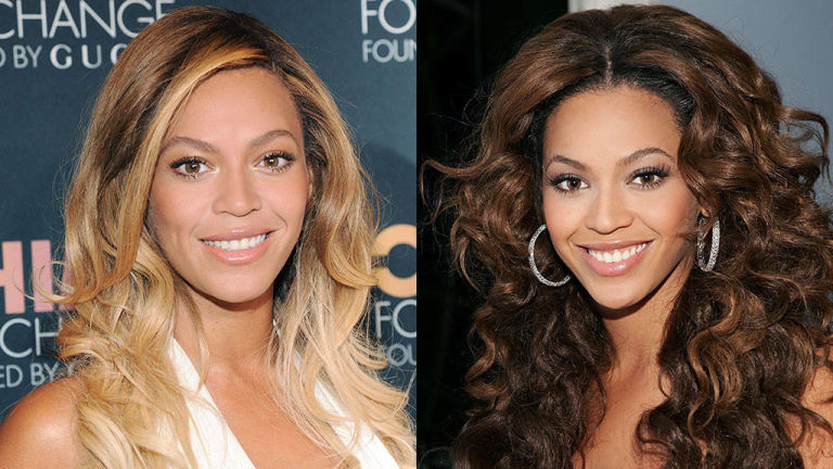 Beyomce blonde and brunette hair colors